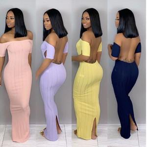 Womens une pièce robe à manches courtes été jupe designer Floor-Longueur blackless robe élégante luxe luxe épaule clubwear klw0392