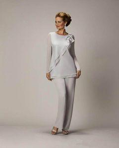 Pantalones de plata barata caliente gasa madre Juego para la madre del banquete de boda de las señoras de novio de la novia vestidos de noche 2020