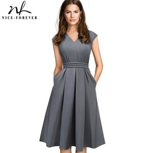 Nice-forever Brief Elegant Solid Color Sleeveless vestidos with Pocket A-Line Women Flare Dress A196 MX200518