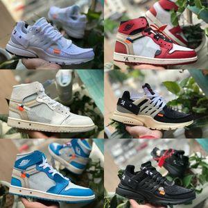 2019 white air jordan Retro off Jordans Nike zapatos de baloncesto OG Barato Real Prohibido Bred Negro Blanco Rojo Dedo Hombre Mujeres 1s No para reventa Presto V2 Zapatos de moda