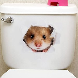 Cute 3D Mouse Cat Wall Sticker Toilet Stickers Home Decoration Wall Decals Kids Room Bedroom Waterproof Refrigerator Home Decor