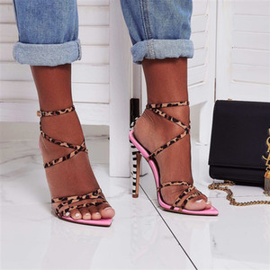 Luxury designer high heels leopard print colorblock sexy pointed sandals women's shoes suede yellow pink size 35-40