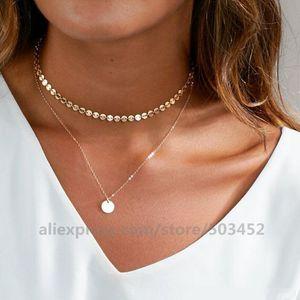 200pcs / lot Nuovo stile Double Layer Impostazione Collana a Catena Bling di wafer della collana dei monili di prezzi di fabbrica sexy della collana per la donna