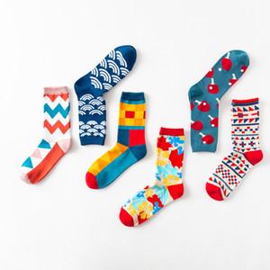 Colore Crew Cotone Happy Socks Uomo Donna British Style Casual Fashion Art novità per la coppia calzini divertenti