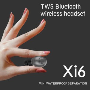 Xi6 Mini TWS Wireless Bluetooth 5.0 Stereo Headsets Waterproof Sport Headphone In-Ear Twins Earphones Earbuds With Charging Socket