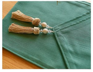 Junwell Poly Cotton Solid Color Table runner with Tassel for Dinner Parties, Summer BBQ & Outdoor Picnics