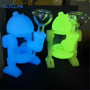 SILICLAB Glow в Dark Robot Bubbler Dope Прохладный кремния Dab Rig Dope Творческий Кальян Шиша Силикон Стекло водопроводная труба Easy Clean Bong