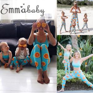 ITFABS New Sexy Mulheres Crianças Família Matching Gym Yoga Set Laranja Sportswear Vest Top Curto cintura alta magro Yoga Suit Workout Pant