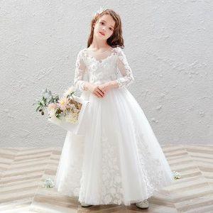2020 lange lange Hülse der Art transparente Hülse handgemachte Blumendekoration einfach gut aussehende Mode peng peng Kleid Host Mädchen Klavier perfor