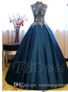 High Neck Sequins Ball Gown Appliques Beading Quinceanera Dress prom