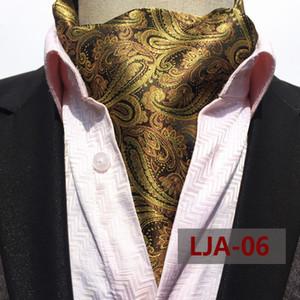 남자 결혼식 사업 동점 넥타이 넥타이 선물을 위한 남자의 녹색 금 Paisley 꽃무늬 Cravat 망 실크 자카드 직물 Cravats Ascot 동점