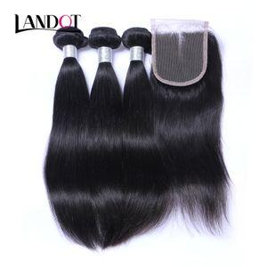 9a Малайзийские пачки для волос девственницы с закрытием Малайзийские прямые человеческие волосы плетение и замыкание натуральный черный цвет кутикулы выровнены волосы реми