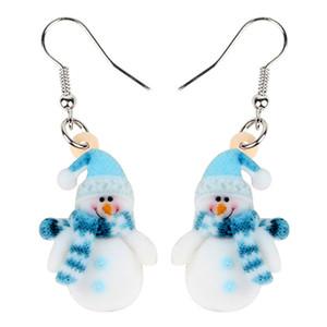 Acryl Sweet Christmas Blue Scarf Schneemann Ohrringe Modeschmuck Frauen-Mädchen-Kinder neue Accessoires Festival Dekorationen