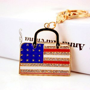 bolsa pingente de acessórios de metal criativo gotejamento ofício óleo pequeno presente Diamante americano chaveiro saco bandeira de Mulheres