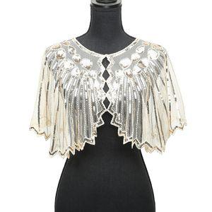 Women 1920s Shawl Poncho Sheer Mesh Shiny Sequined echarpe femme Beading Scalloped Evening Party Bolero Cape for wedding 2018