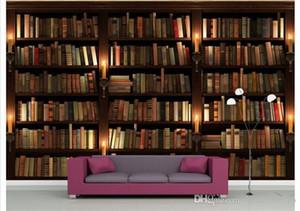 Sfondo sfondo personalizzato 3D Photo europea Retro Style Sofa TV Wallpaper murale Libreria Libri Bookshelf murale della casa della carta di decori
