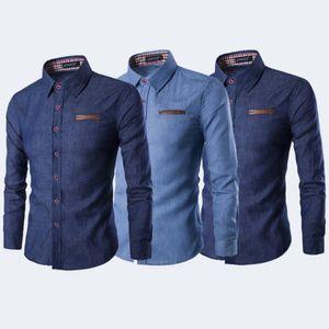 Occidental ocasional del botón de camisa azul de mezclilla abajo de la manga larga de la manera adelgazan traje de Hombre
