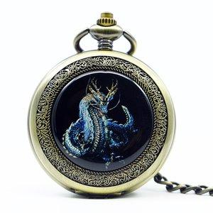 Nova Retro Silver Dragon Mecânica Mão Winding Men relógio de bolso cadeia colar pingente Carving presente de Steampunk Man Mulheres