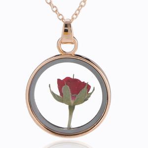 hediye olarak kadınlar için takı çiçek kolye kolye kurutulmuş gül çiçekleri cam daire yuvarlak kolye kolye