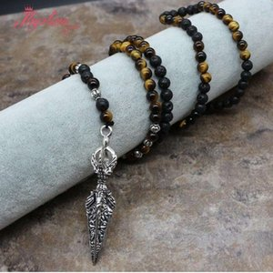 6mm Round Lava Tiger Necklace For Women Man Stone Pandant Necklace Meditation Healing Jewelry Necklace Gift Dropshipping
