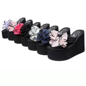 My-Love 6cm Femmes bowknot Pearl Beach flip flops d'été haut fleurs fond épais Slip Sandales Bling Femme Style Mode Diapositives