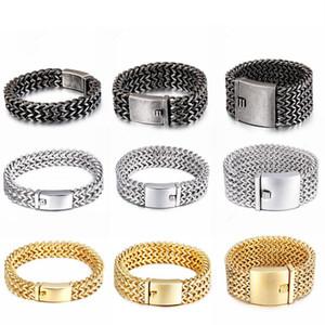12mm 18mm 30mm Heavy Mesh Link Chain Bracelet Men Punk Vintage Metal Stainless Steel Mens Biker Wrist Band Charm Wide Bracelets Jewelry