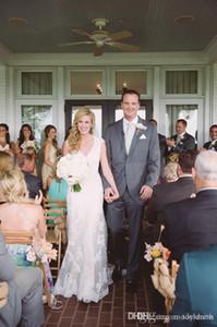 빈티지 Mermiad 결혼식 Dresse Appliqued 층 길이 사용자 정의 만든 다시 커버 단추 바닥 길이 웨딩 신부 가운