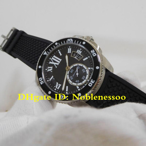 with Box Men's Calibre de Black Roman Dial Black Dial Automatic 42mm Steel Watch W7100056 Rubber Strap Mens Watch Watches