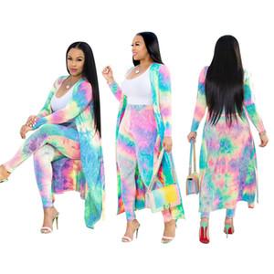 Treino das mulheres tie dye imprimir dois conjuntos de peças designer de roupas de verão casaco de manga longa leggings bodycon calças compridas plus size S-3XL 878