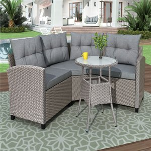 U_style 4 Piece Resin Wicker Patio Furniture Set with Round Table Gray color cushions In Stock