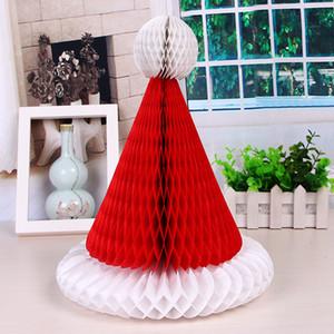 Arbre de Noël Chapeau de Père Noël Bonhomme de neige papier Hanging lanterne Garland Honeycomb Boule pour Décorations de Noël Fête de Noël Décoration WX9-1631