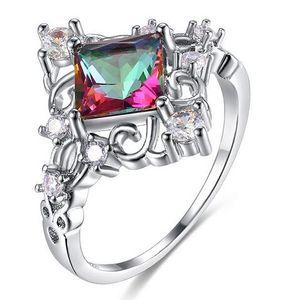 Anéis de noivado de casamento de zircão colorido quadrado para mulheres personalizadas princesa creativo anéis feminina feminina femme
