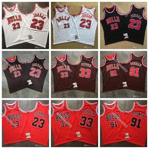 Scottie Pippen 33 Basketball Hommes ChicagoBulls91 91 Vintage Le ver Dennis Rodman authentique Mitchell Ness pas cher