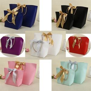 Presentes sacos de papel com alças Pure Color 10 Cores Roupas sapatos Jóias Shopping Bag Gift Wrap recicláveis para embalagem de 21 * 7 * 17 centímetros 1 42jy E1