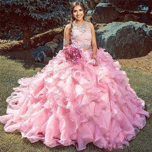 Pink Ball Gown Quinceanera Dresses Cascading Ruffles Organza Beads Appliques Sweet 16 vestidos de 15 Anos Masquarade Prom Evening Dress