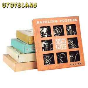 Utoysland 9pcs / set 금속 와이어 Iq 마인드 브레인 티저 퍼즐 아이들을위한 게임 성인 아기 Montessori Toys