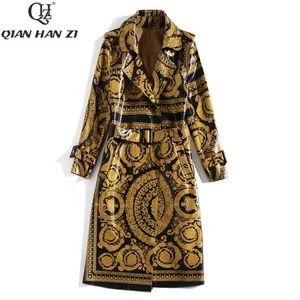 Qian Han Zi mais novo Runway Moda Outono longo casaco de manga longa Mulheres cinto padrão de impressão do vintage brilhante trench coat de couro LY191210