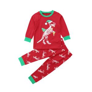 Dinosaur bambino bambini del ragazzo della neonata di Natale Red Top Pantaloni Outfit Pigiama Xmas autunno che coprono insieme