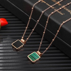 Fashion Vintage Malachite Necklace for Women Girls 316L Stainless Steel Rose Gold Plated European USA Hot Selling Necklaces
