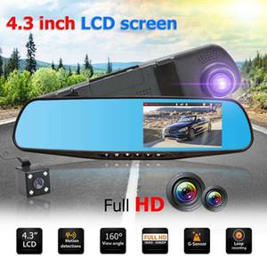 """Car Dvr Mirror caméra 4.3"""" Objectif Dash Cam Recorder Full HD 1080P vision nocturne Rearview deux double Parking Vue arrière Recorder Caméras de conduite"""