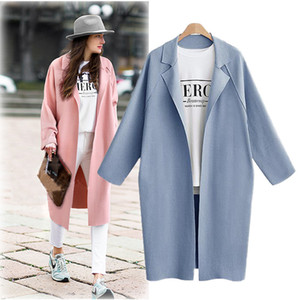 Stylish casual solid-colored medium-length large-size trench coat