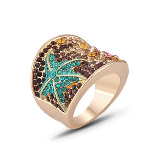 [DDisplay] Fashion Creative Recommandé avec strass doigt Hoops couleur étoile à cinq branches anneaux Drame coloré vert Anneau Étoile de mer