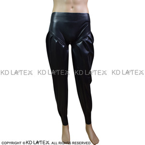 Black Sexy Latex pantaloons with Flat Front Rubber Pants Trousers Bottoms 0041