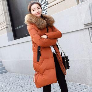 Оптово-Плюс Размер 2XL 3XL сгущает Зимняя куртка Женщины 2019 средней длины вниз пальто телогрейки Черный Повседневная одежда для женщин