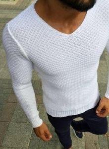 Casual V-Neck Slim Fit T shirt dos homens de malha moda Knit Pullover Top Primavera Outono Knitwear Jumper Tops Black White