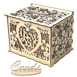 DIY Wedding Gift Card Box Wooden Hollow Box with Lock Beautiful Birthday Party Decoration Supplies