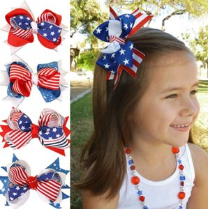 Baby Girls Bows Stars Striped Hair Clips 4th Of July Festival Hairgrips Independence Day Hair Accessories 4 Designs Optional YW3045