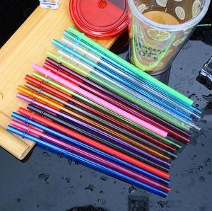 Einweg-Strohhalme 260 * 6mm 9 Farben Kunststoff-Party-Strohhalme 10.5inch Wiederverwendbare Strohhalme für hohe dünnen Tumblers 4000pcs T1I1755