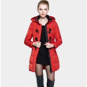 Womens Inverno Hight qualidade Duck Down jaquetas e casacos Mulheres Longo Fino Parka Hot Sale Corno Botão Overcoat LX271