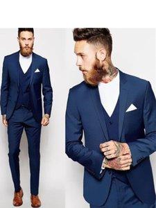 Trajes Trajes Venta caliente Azul marino para hombre de negocios 3 piezas (chaqueta + pantalones + chaleco) boda esmoquin padrinos de mejor juego del hombre formal para hombres
